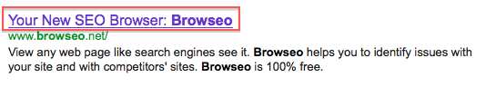 Screenshot of Browseo.com title tag in Google search results